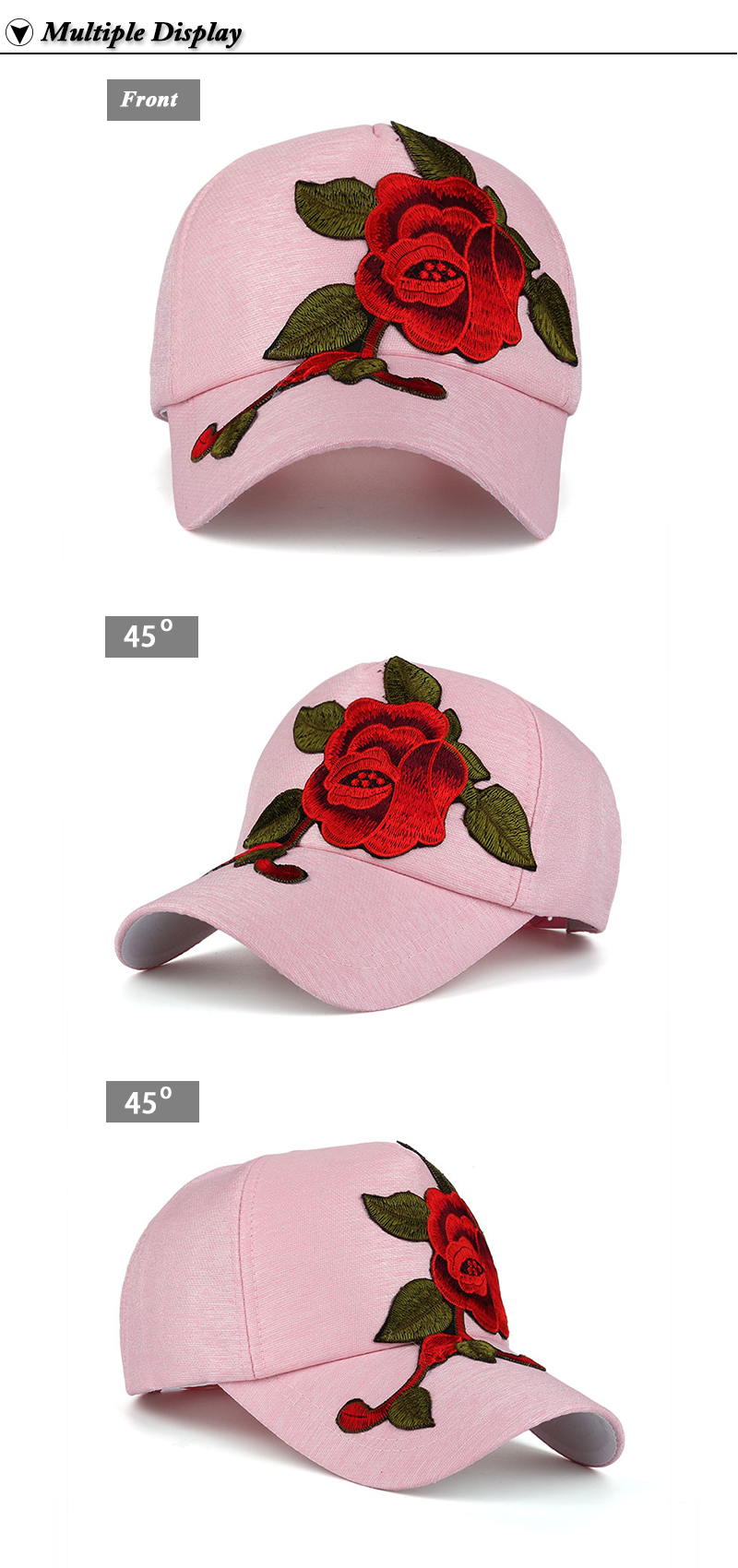 Large Flower Embroidered Snapback Cap - Front and Left and Right Front Angle Views