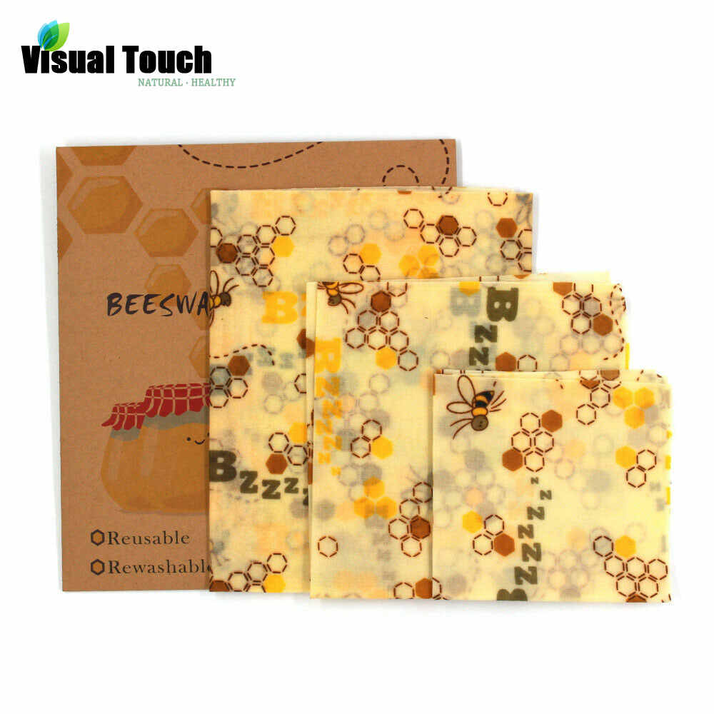 Visual Touch Organic Reusable Beeswax Cloth Wrap Food Fresh Keeping Bag Lid Cover Stretch Food Cling Wrap Seal  for Sandwich