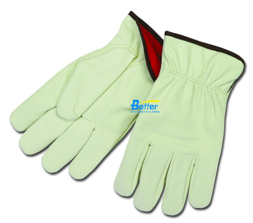 Winter Safety Glove Red Fleece Lining Leather Work Glove Synthetic Split Cowhide Leather Driver Gloves leather combined safety glove deluxe leather work glove