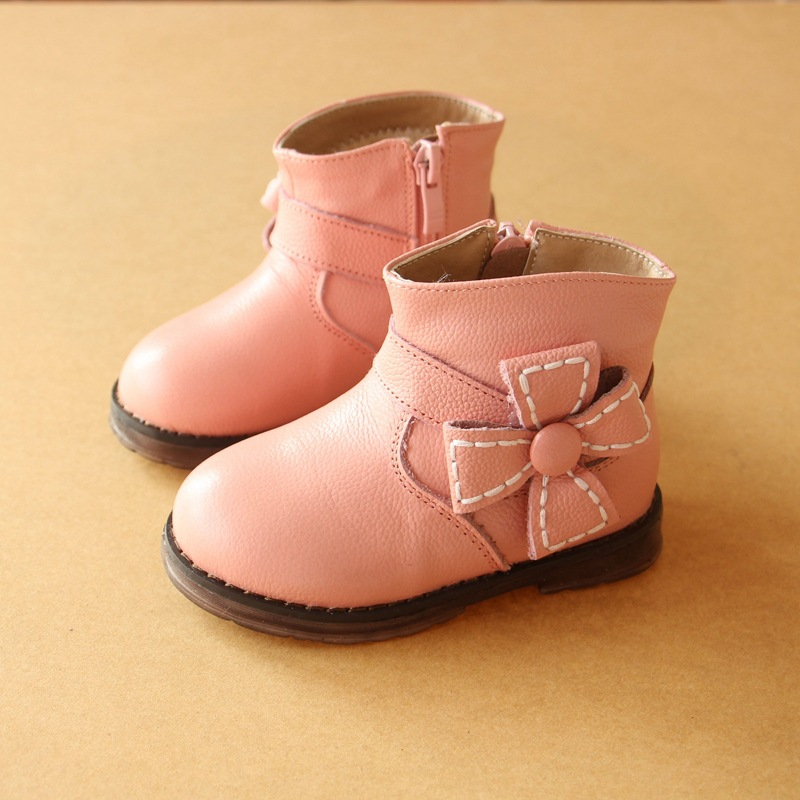 2017 Winter Flower Girls Leather Cotton Boots 1 3 Female Baby Fashion Boots Warm Infant Snow