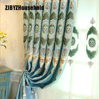 European High Grade Villa Thickened Shading Curtain Fabric Embroidery Blue Curtain For Living Dining Room Bedroom
