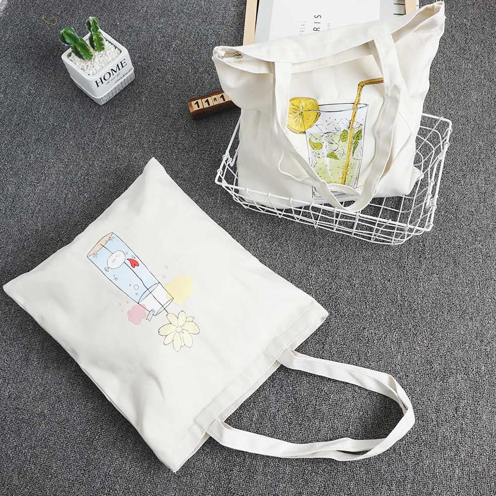 1 Pc Einkaufstaschen Cartoon Casual Frauen Zipper Leinwand Schulter Taschen Umwelt Umhängetaschen Geldbörsen Casual Handtasche Für Frauen Reisen