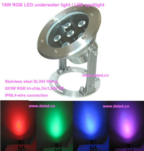 good quality,high power outdoor 18W RGB LED spotlight, LED projector light,DMX compitable,IP68,24V DC, DS-10-27,6X3W RGB 3in1 ip65 ce good quality high power 36w rgb led wall washer rgb led wash light 12 3w rgb 3in1 24vdc ds t21a 36w rgb 50cm pc