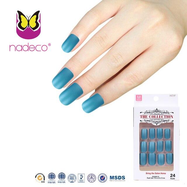 Nuevo azul mate Esmaltes de uñas color nail tips artificial Uñas ...