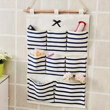 Hanging Storage Bag Multifunciton Pockets Organizer Cotton Wall Door Home Organizer Stripes With 8 Pockets Cajas