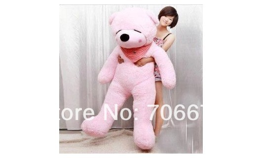 New stuffed pink squint-eyes teddy bear Plush 240 cm Doll 94 inch Toy gift wb8608
