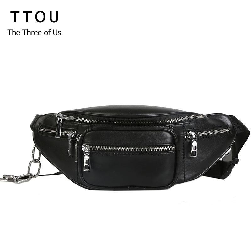 купить TTOU Fashion Women Waist Bag Casual Pu Leather Chain Bananka Bags Zipper Chest Waist Bags Travel Chest Bag Fanny Waist Pack по цене 791.7 рублей