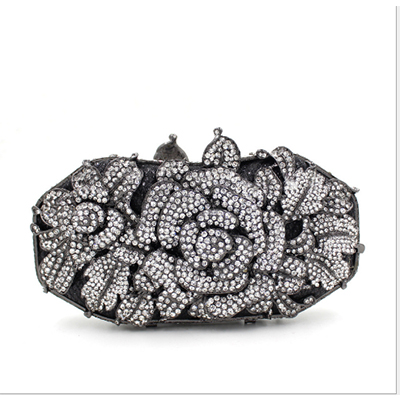 Women black Flower Hollow Out Crystal Evening Metal Clutches Small Minaudiere Handbag Purse Wedding Box blue Clutch hand Bag