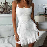 Nadafair White Ruffles Print Summer Dress Women Spaghetti Strap Bodycon Sexy Mini Dress Sleeveless Casual A-Line Dress