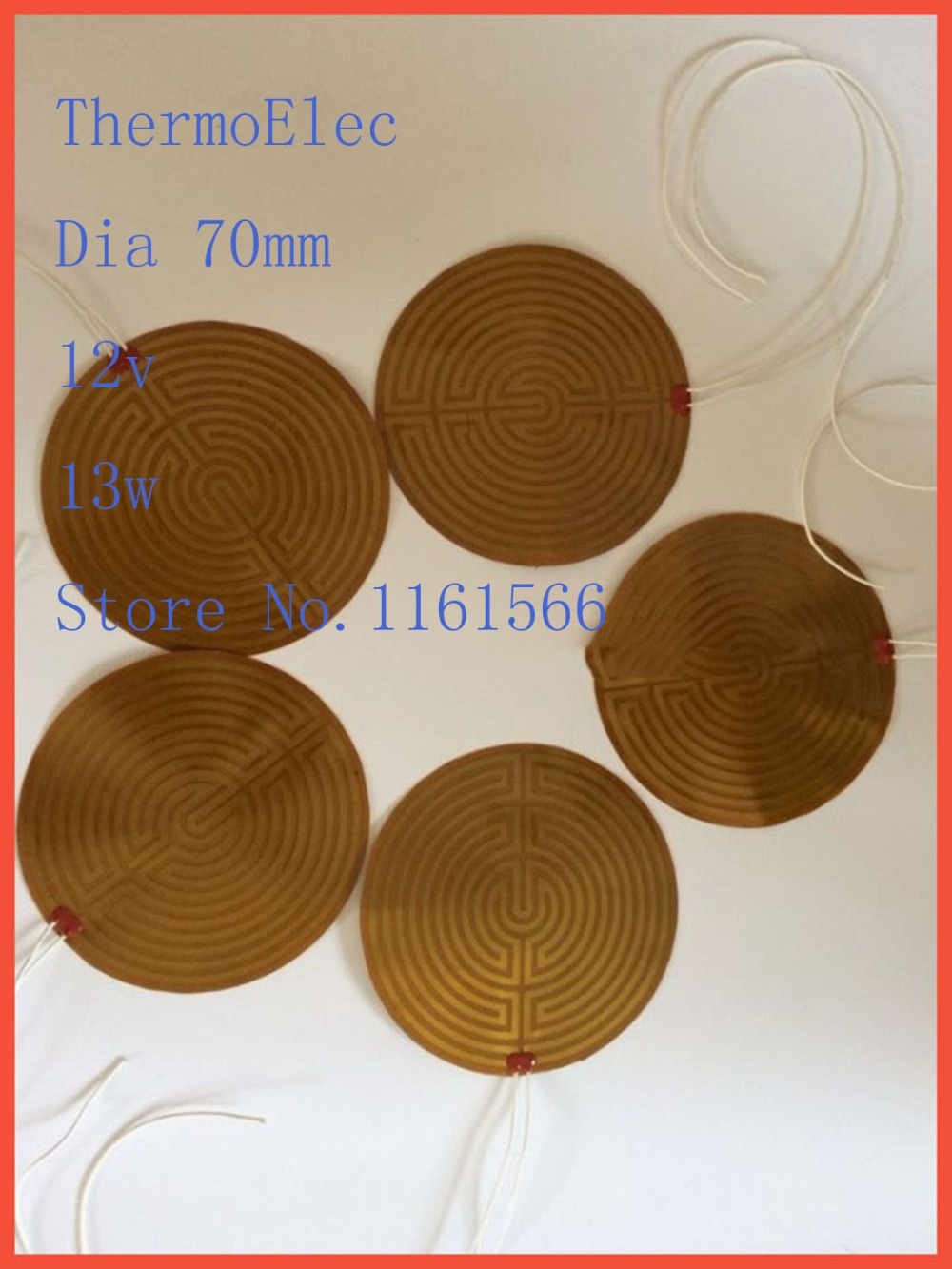 Dia 70mm 12v13w element heating PI film polyimide heater heat rubber electric flexible heated bad Hot 3D printing series heating dia 400mm 900w 120v 3m ntc 100k round tank silicone heater huge 3d printer build plate heated bed electric heating plate element