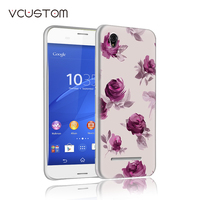vcustom beautiful leave red rose plant white hard cases for Sony xperia C3 phone case