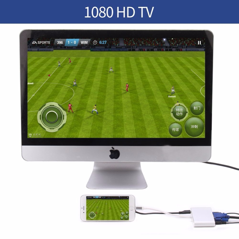 ZNNCO For 8pin to HDMI VGA Audio TV AV Adapter Video Cable