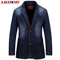 Asia Size M 3XL Denim Jeans Blazer Men Coat Jacket Casual Slim Suits For Men Cowboy