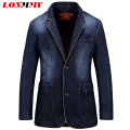 LONMMY Asia size M-3XL Denim jeans blazer men Coat jacket Casual Slim Suits for men Cowboy blazer suit Brand-clothing New