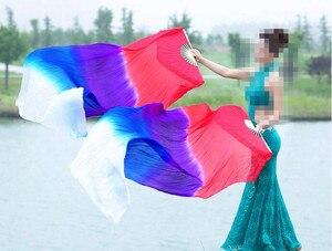 Image 3 - Neue Kinder Frauen 1 Paar 100% Seide Lange Bauchtanz Fan Schleier Elegante Farbverlauf Günstige Förderung 120cm 150cm 180cm