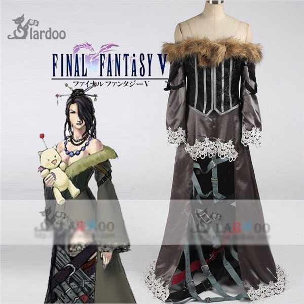 Game Anime Clothing Final Fantasy Lulu Cosplay Costume Gray Dress Full Set Any Size Free Shipping