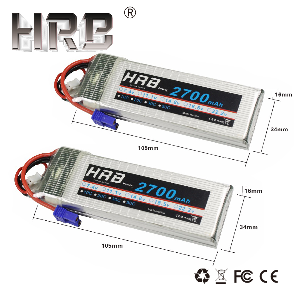 2pcs HRB Lipo Battery 2S 7.4V 2700mah 10C EC2 RC <font><b>Parts</b></font> For Hubsan H501A H501C <font><b>H501S</b></font> x4 Pro H501M Drone Quadcopter Airplane Cars image