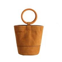 New Classic Bucket Tote With Wood Handel Women Genuine Leather Handbags Ladies Messenger Bags For Female A0018 цена в Москве и Питере