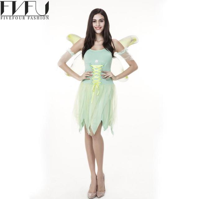 new style 2017 cosplay halloween costumes women green flower fairy wizard costumes dress girls cute halloween