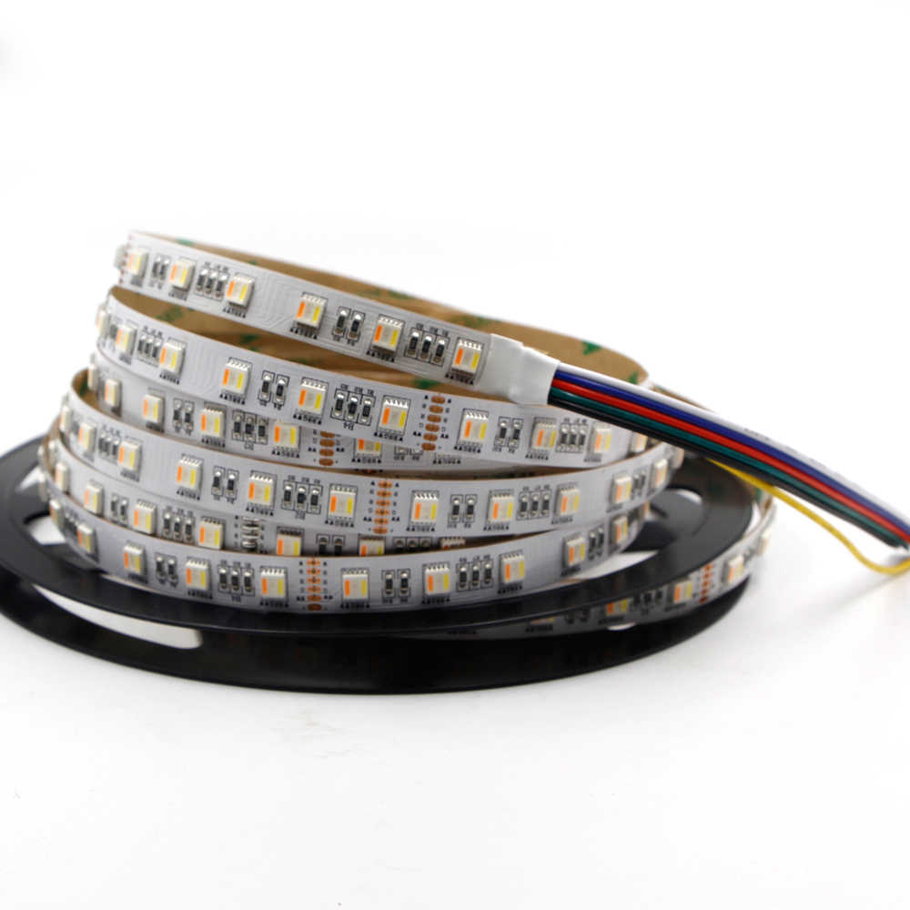 5 M RGB + CCT 300 LED Lampu Strip RGB CCT 5IN1 RGBW 5050 Dual Putih Suhu Adjustable LED RGB garis Cahaya Tape Lampu 12 V 24 V