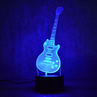 3D Electric Guitar LED Lamp 7 Colorful USB Table Lamp Baby Sleeping Night Light Music Touch