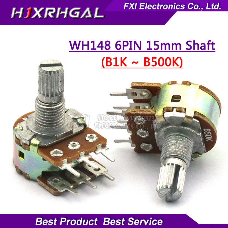 5pcs WH148 B1K B2K B5K B10K B20K B50K B100K B500K 6Pin Shaft  Amplifier Dual Stereo Potentiometer 1K 2K 5K 10K 50K 100K 500K original new 100% fader double potentiometer combined assets of black 75mm a20k b20k a50k b50k a100k b100k sc6082gh switch