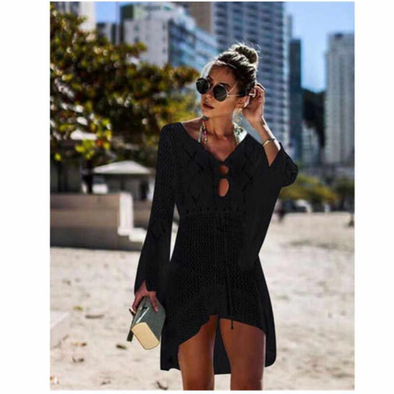 Donne Sexy di Estate Bikini Prendisole e Camicioni Spiaggia Abito a Portafoglio Pareo Caftano Lace Crochet Casual Delle Signore Femminile Beach Wear Costume Da Bagno