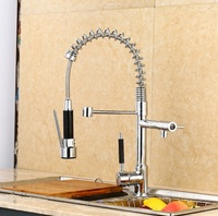 Modern Creative Spring Pull Out Sprayer Kitchen Sinks Faucet Brass Material Hot And Cold Wash Basin