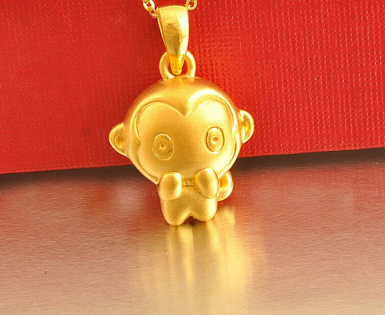 Classic new 999 24K Yellow Gold 3D Little Monkey Pendant 1.91g newborn baby kids boys tops cool letter printing i do what i want sleeveless t shirt vest short pants 2pcs outfits set clothes