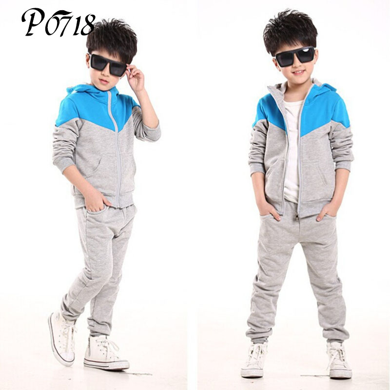 Kids Clothes Boys 2017 Baby Autumn Hoodied Coats Jackets Pants Set Sportswear Korean Fashion Children Clothing Boys Sports Suit  недорого