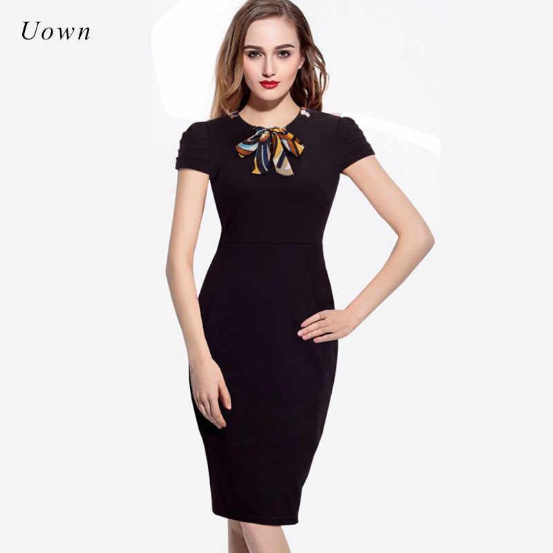 e0c348ca14ed Summer Office Midi Pencil Dress Women Petal Sleeve Bow Tie up Plain Black  Bodycon Dress Elegant