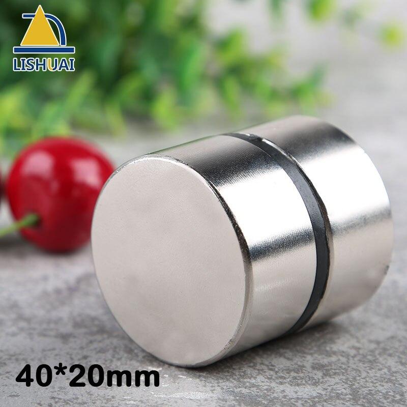 LISHUAI Trasporto libero 2 pz/lotto magnete 40x20mm N35 Rotonda forti magneti potente magnete Al Neodimio Magnetico in metallo
