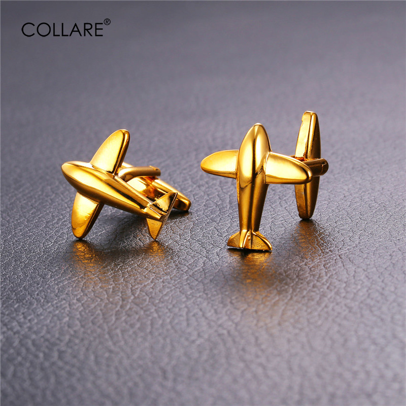 Collare Fashion Air Plane Cufflinks For Mens Gold/Silver ...