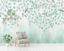 beibehang Fashionable silk cloth wall paper fresh green leaves watercolor style northern Europe simple background 3d wallpaper