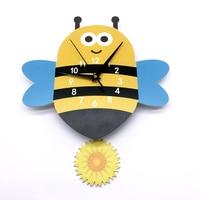 3D Cartoon Bee Wall Clock PVC DIY Yellow Nursery Room Eco friendly Wall Decals Creative Digital Watches Silent Clock for Kid's R