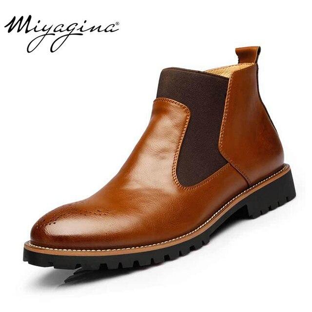 Mode Mannen Chelsea Laarzen Echt Leer Mannen Herfst Lente Winter Laarzen Handgemaakte Plus Size Enkel Schoenen Maat 38 ~ 46