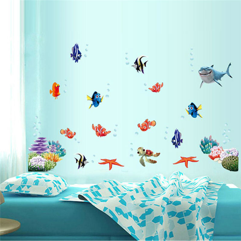 3d Movie Stickers Finding Nemo Wall Decals Nursery Removable Mural Art  Cartoon Diy Colorful Sea Fish