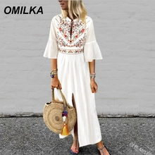 цена на OMILKA Big Size 5XL Cotton Linen Boho Dress 2019 Summer Women Half Sleeve V Neck Ethnic Printed Loose Long Linen Beach Dress