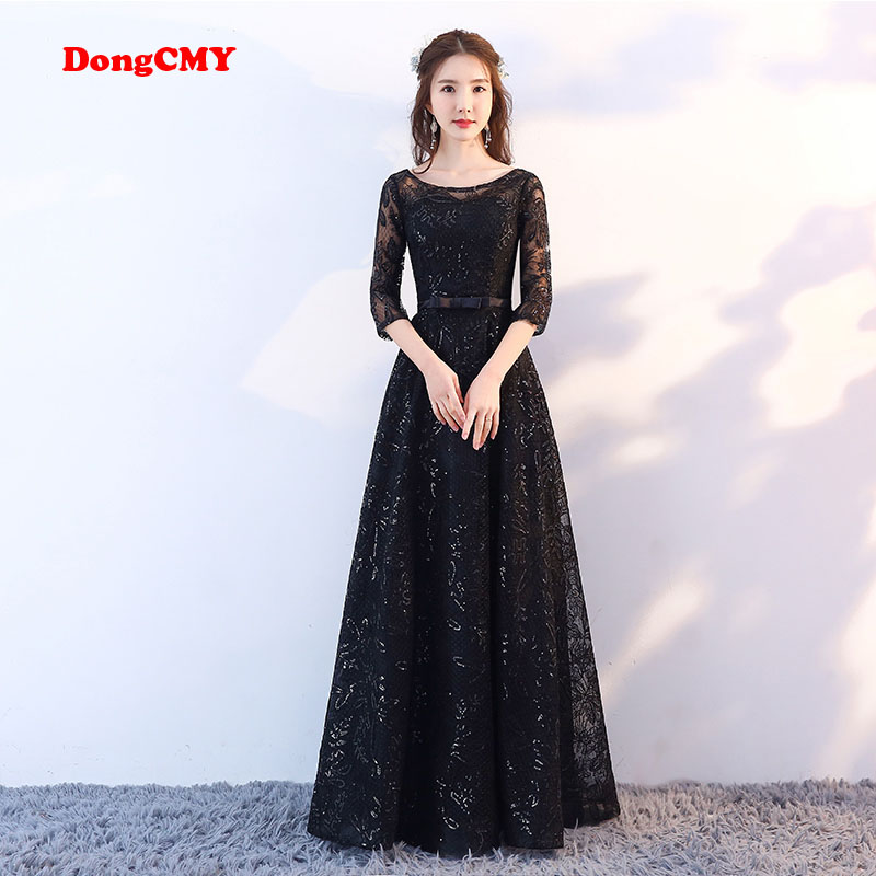 DongCMY 2019 New Arrival Fashion Formal Long Black Color Sequin Elegant Lace Evening Dress