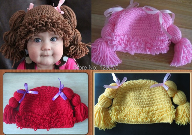 Free Shipping 100 Handmade Crochet Baby Girls Wigs Cabbage Patch