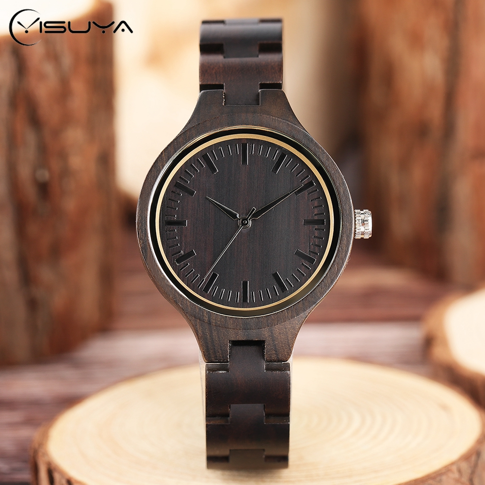 Handmade Full Bamboo Wooden Wrist Watch Beautiful Woman Simple Timber Quartz Ladies Watches Nature Wood Fold Clasp Bangle Clock