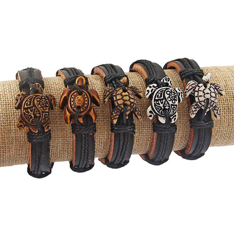 10pcs Mens Mix White/Brown Tribal Sea Surfer Charm Turtle Leather Bracelet