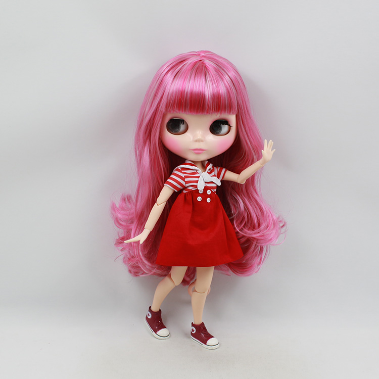 Free shipping Blyth nude doll diy red & pink long wig 30cm fashion blyth dolls joint body from blyth factory wholesale stuffed animal 145cm plush tiger toy about 57 inch simulation tiger doll great gift w014