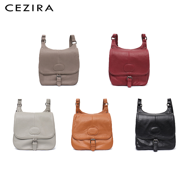 CEZIRA Fashion Shoulder Bags for Women Small Vegan Wash Leather Flap Bag Girl Flap Cover Buckle Casual Messenger Bag Lady Bags 2