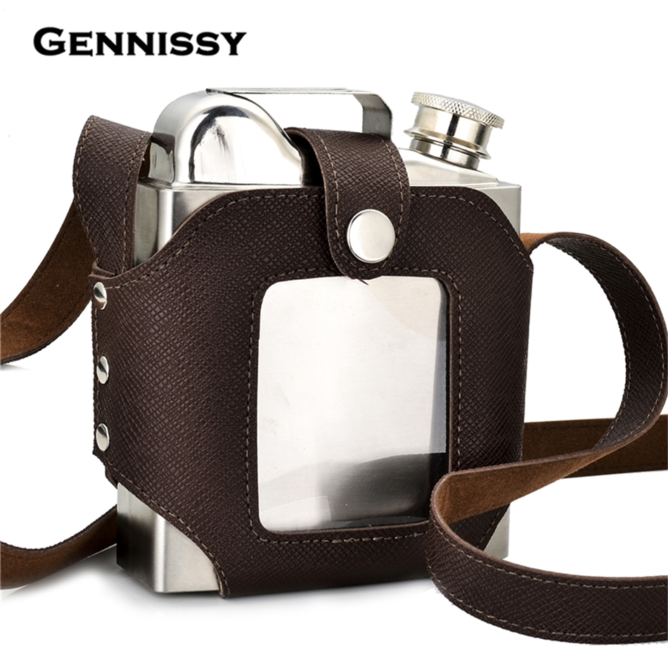 GENNISSY Big Capacity 18 OZ Stainless Steel Whiskey Flasks Removable Brown Transparent Holster Buckle Hip Flask