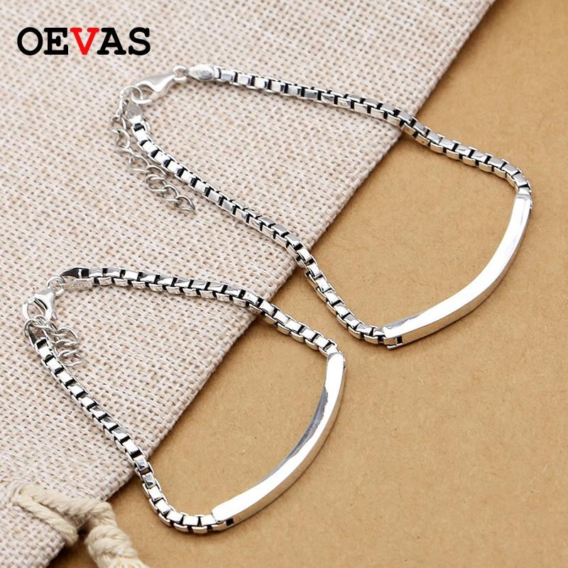 Bracelets de luxe en argent Sterling 925 Couple boîte chaîne Bracelet pour femmes hommes Simple et élégant amant S925 bijoux dropshipping