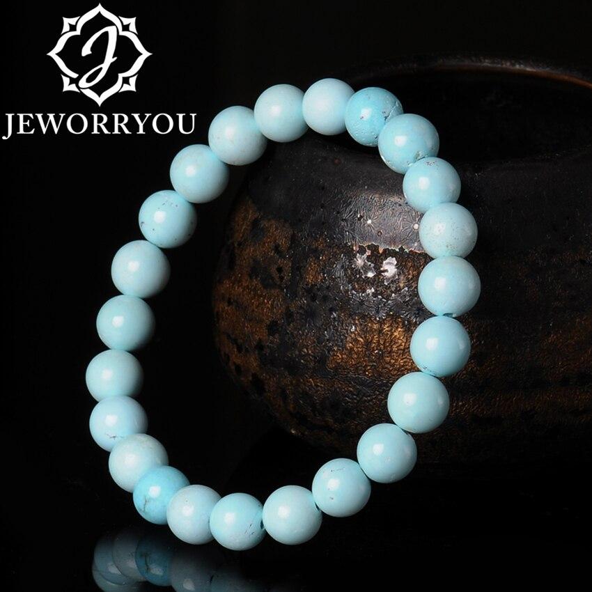 Turquoise Natural Stone Bracelet Women 6.5-7.5mm Round Beads Bracelet Womens High Porcelain Texture Bracelets For Girls