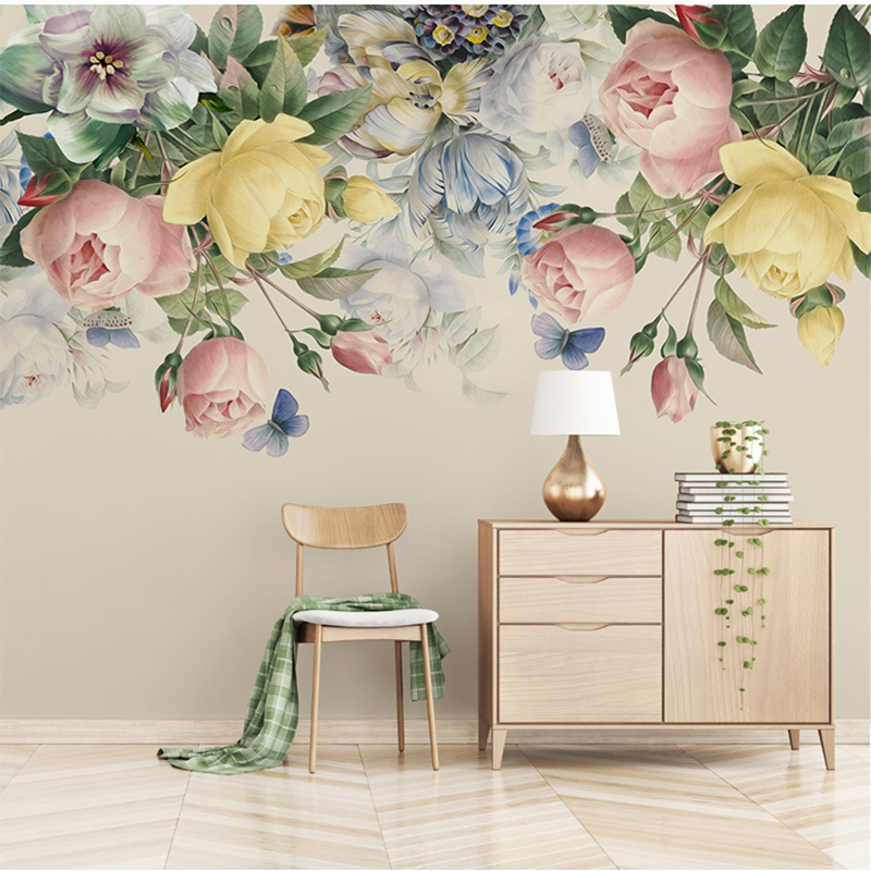 Custom Wall Cloth Hand-Painted Retro Rose Murals Living Room TV Background Wall Covering Home Furnishing Waterproof Wall Paper