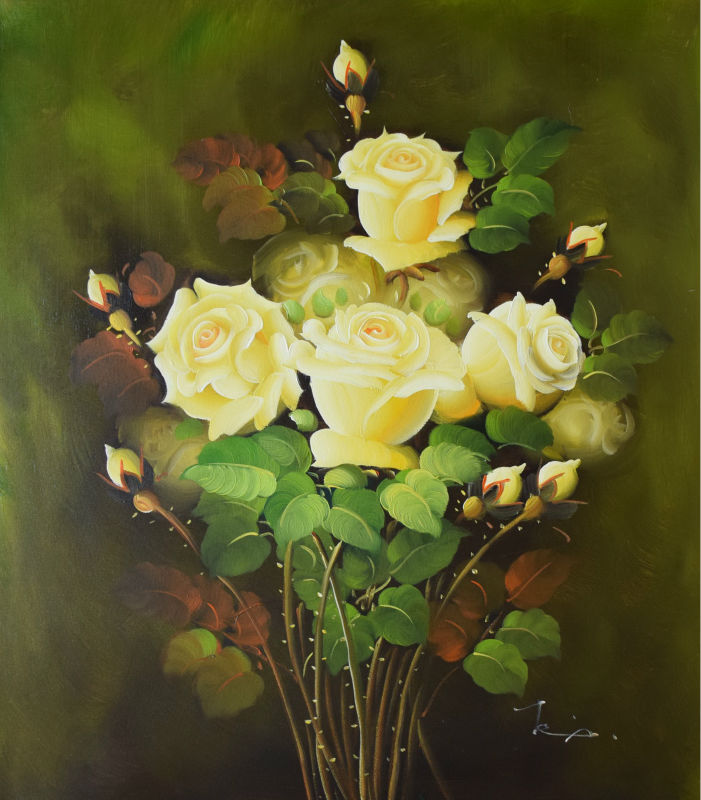 Modern Art Wall HandPainted Canvas Painting Yellow Roses Flower Oil ...