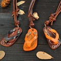 Quality Genuine Leather Necklace  For Men And Women Vintage Cute Flip Flops Accessories Birthday Gift Necklaces